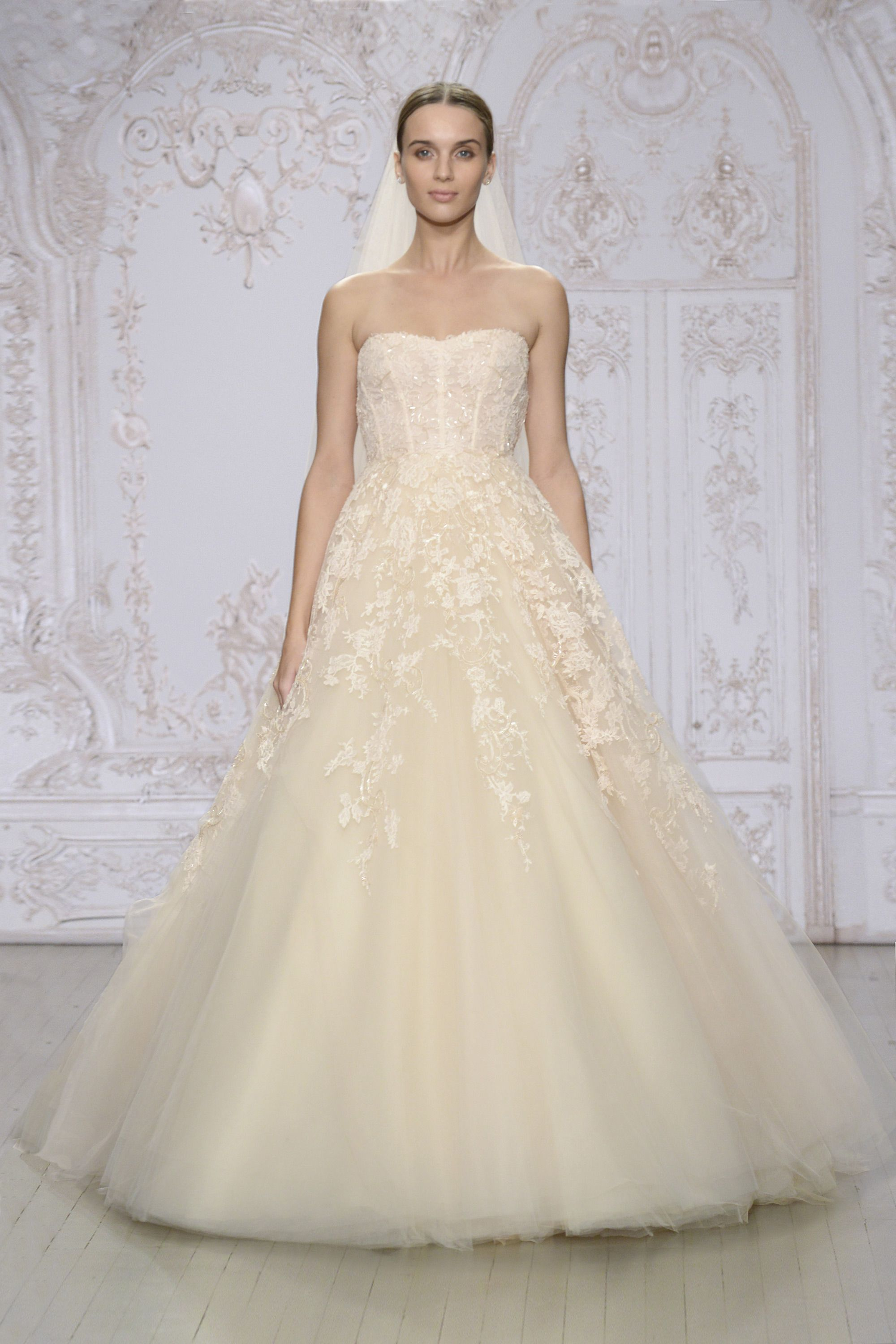 Monique Lhuillier - Peach embroidered lace and tulle strapless ...