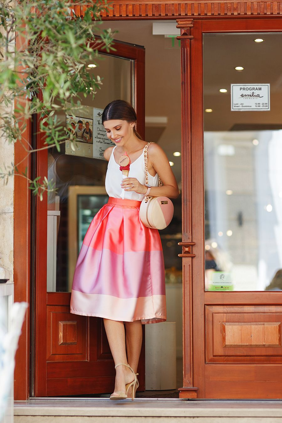 Pink? Pink! You? Chic! Give your closet a color pop with our Lollipops color block printed midi skirt! Lollipops Color Block Printed Midi Skirt featured by larisacostea Blog