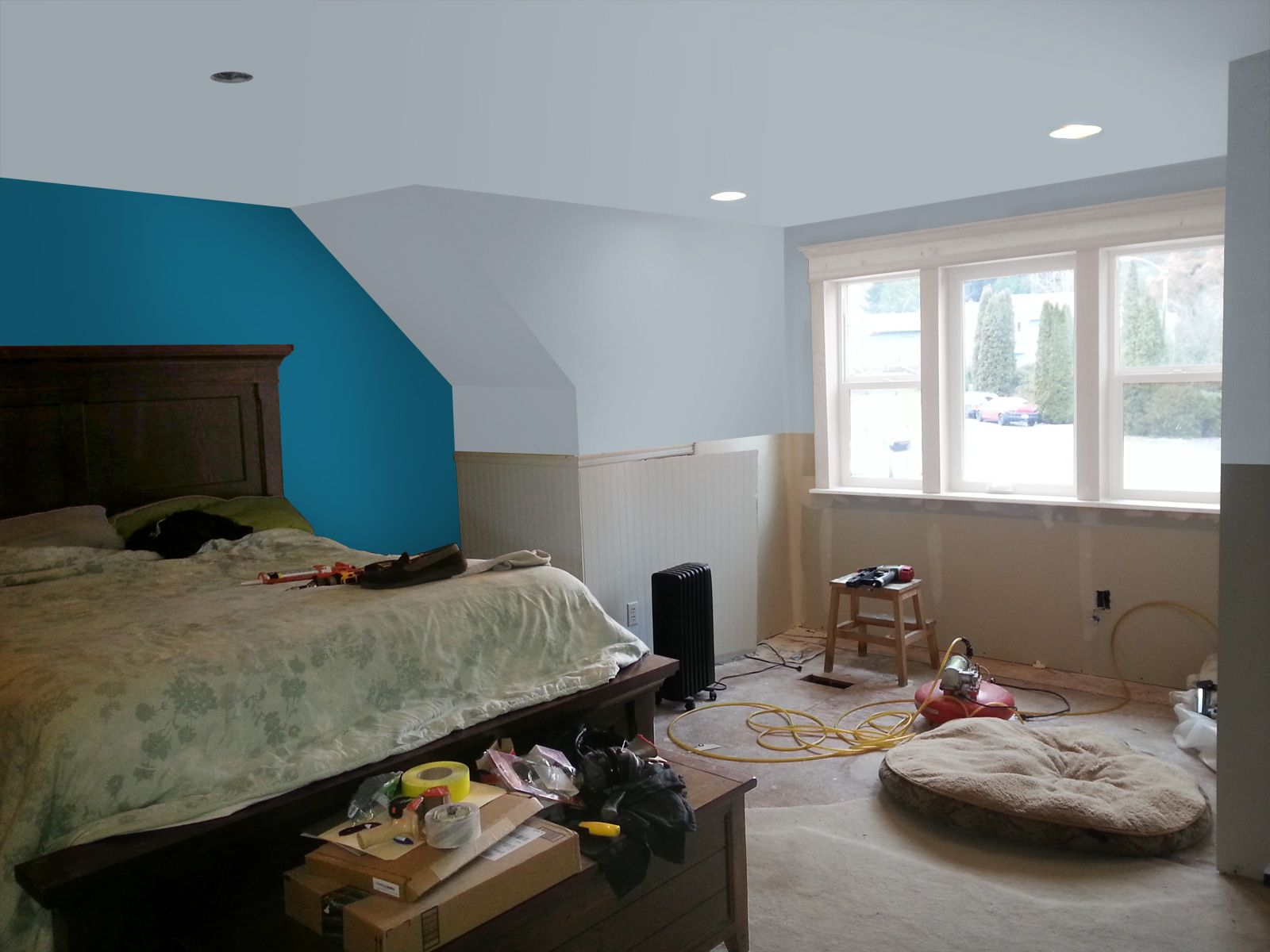 Photoshop Trial Of Master Bedroom With Valspar Colors Pacific Pleasure Accent Wall And Shark