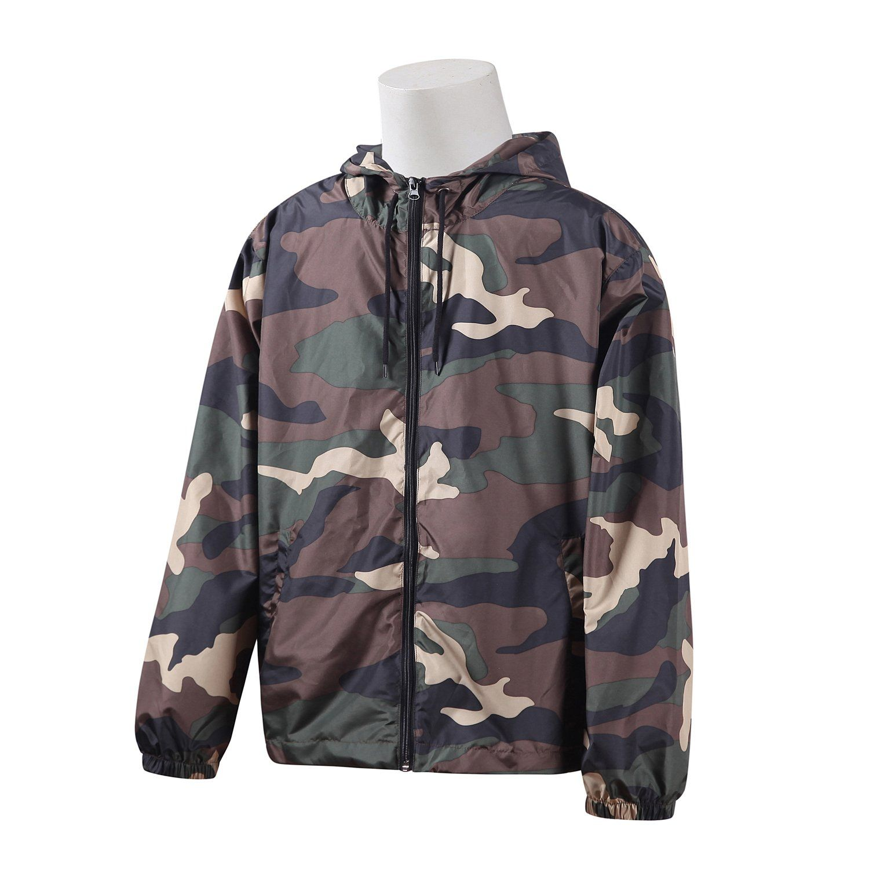 Cow Skin Print Pattern Lightweight Mans Jacket with Hood Long Sleeved Zippered Outwear