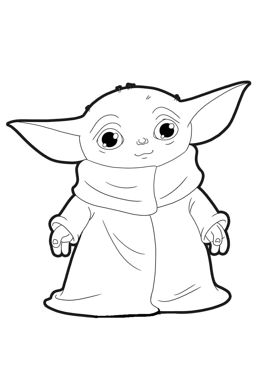 Coloring Pages Baby Yoda The Mandalorian And Baby Yoda Free Star Wars Art Drawings Star Wars Drawings Yoda Art