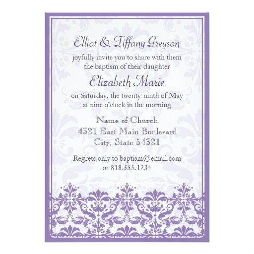 Damask Border With Double Frame Purple Invitation Zazzle Com Purple Invitations Invitations Invitation Paper