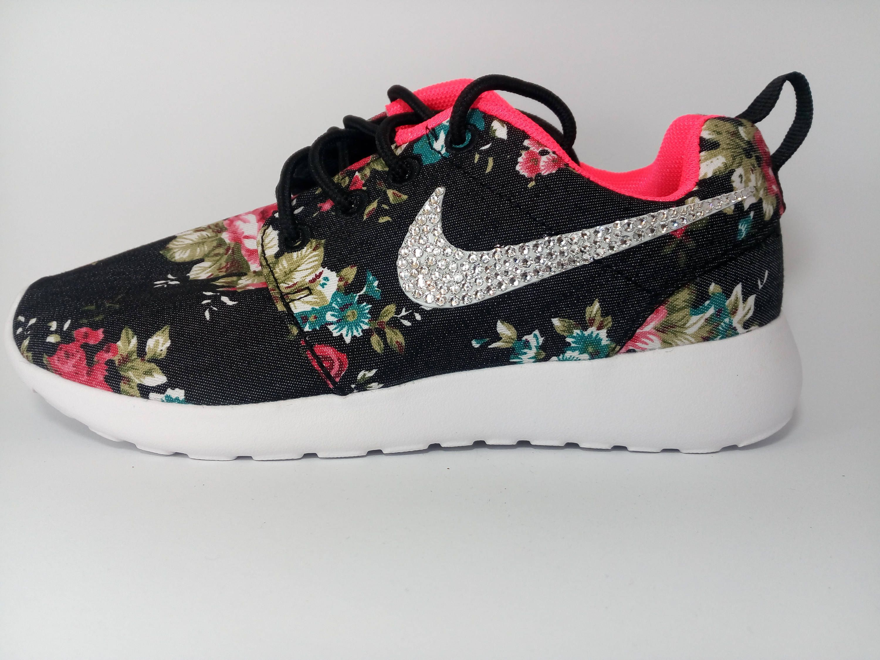 custom nike roshe run womens shoes black jeans fabric floral print blinged  with swarovski crystals nike