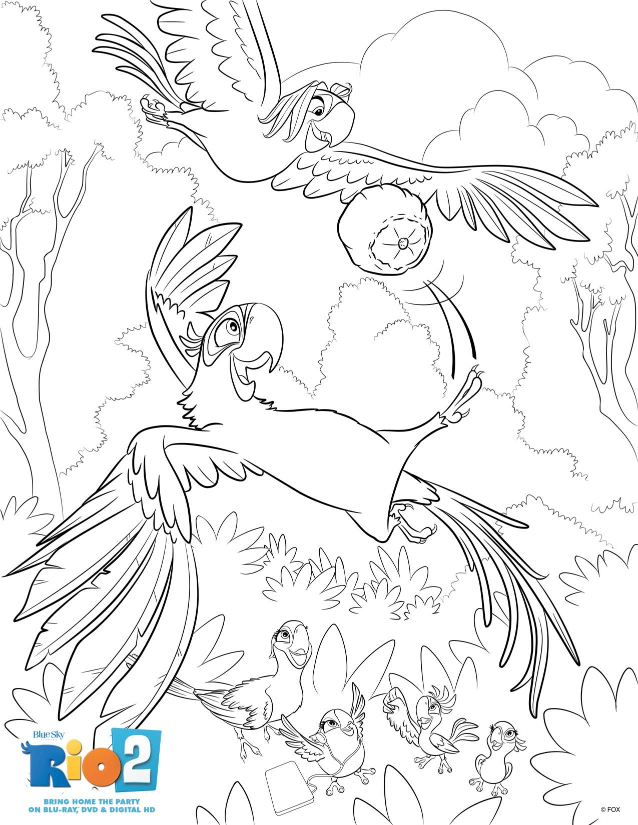 Coloring Page Featuring Blu And Roberto From Rio2