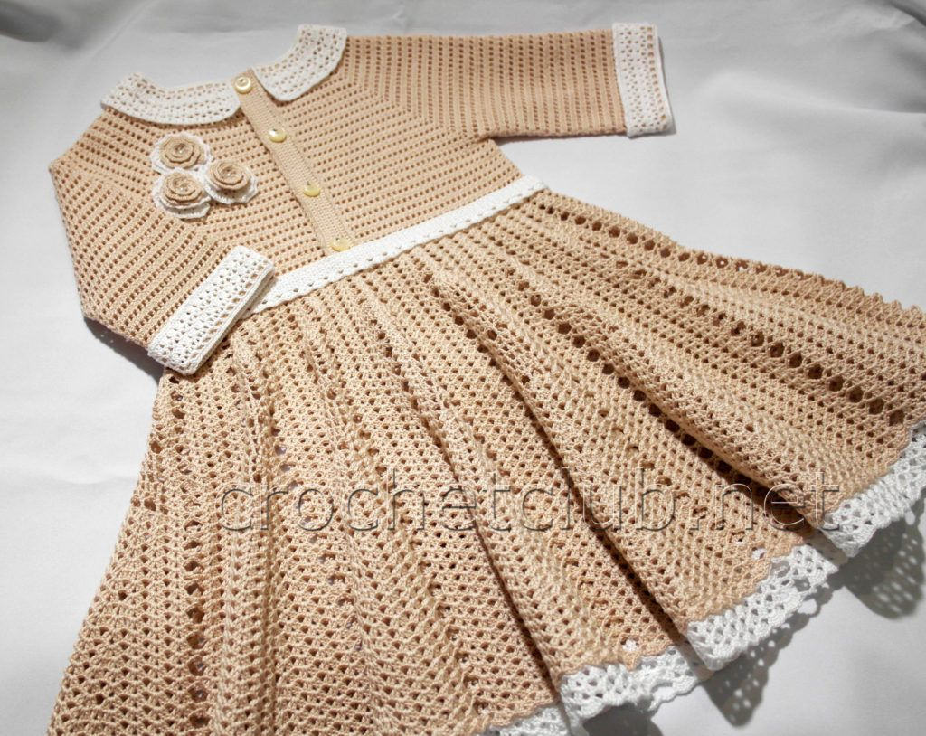 vestido manga larga crochet (3) | niños y niñas | Pinterest