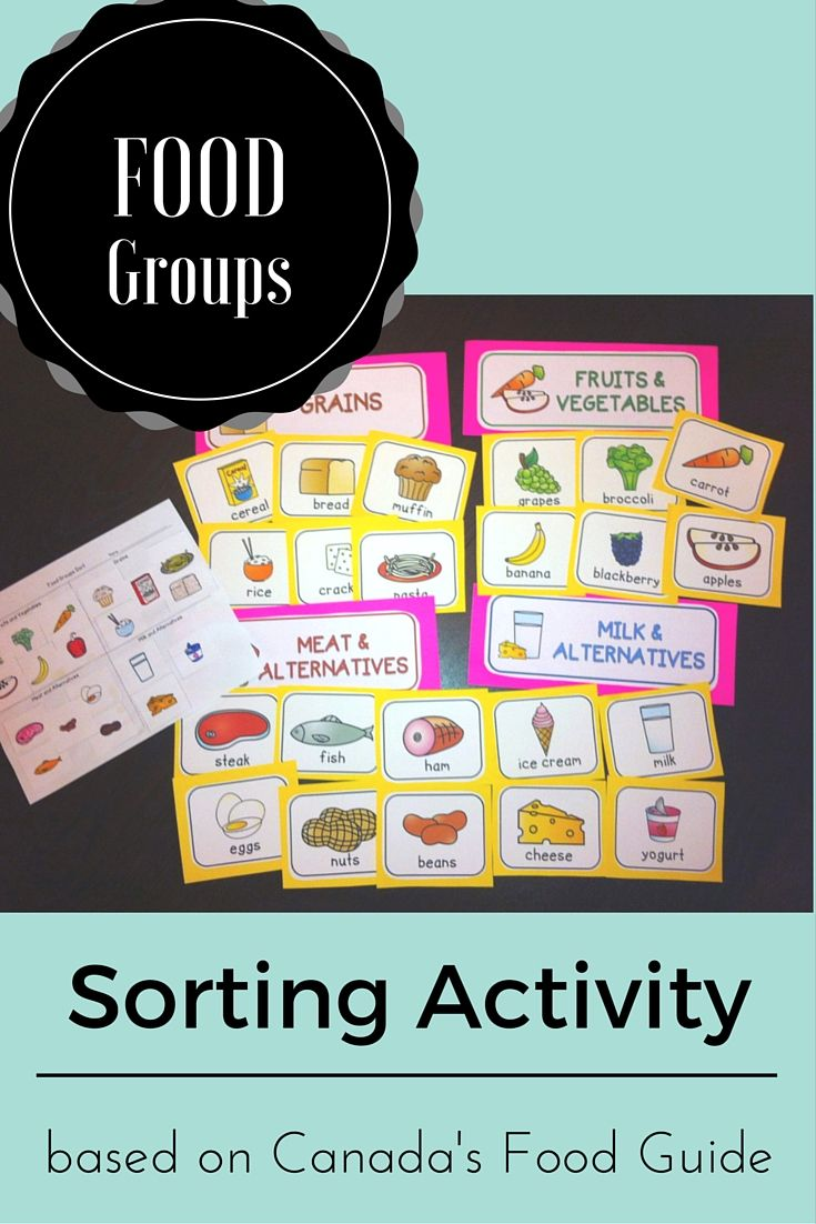 Food Groups Activity Based On Canada S Food Guide Group Meals