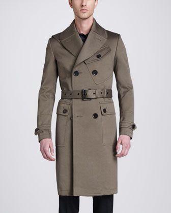 Belstaff Sutherland Long Trenchcoat, Bradley Racing Stripe Woven Print Shirt & Remston Trousers - Neiman Marcus