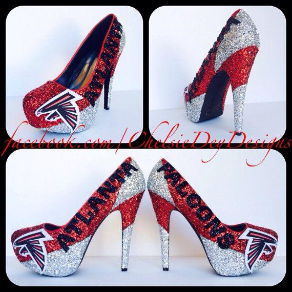 6c8f2f48 Atlanta Falcons Glitter High Heels by ChelsieDeyDesigns on Etsy ...