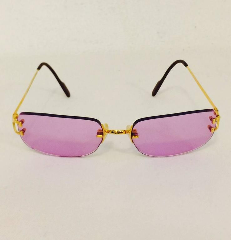 81c360b93b479 Cartier Rimless Sunglasses With Rose Pink Tinted Lenses in 2019 ...