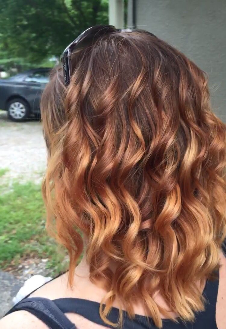 Balayage Ombre Highlights From Medium Brown To Strawberry Blonde