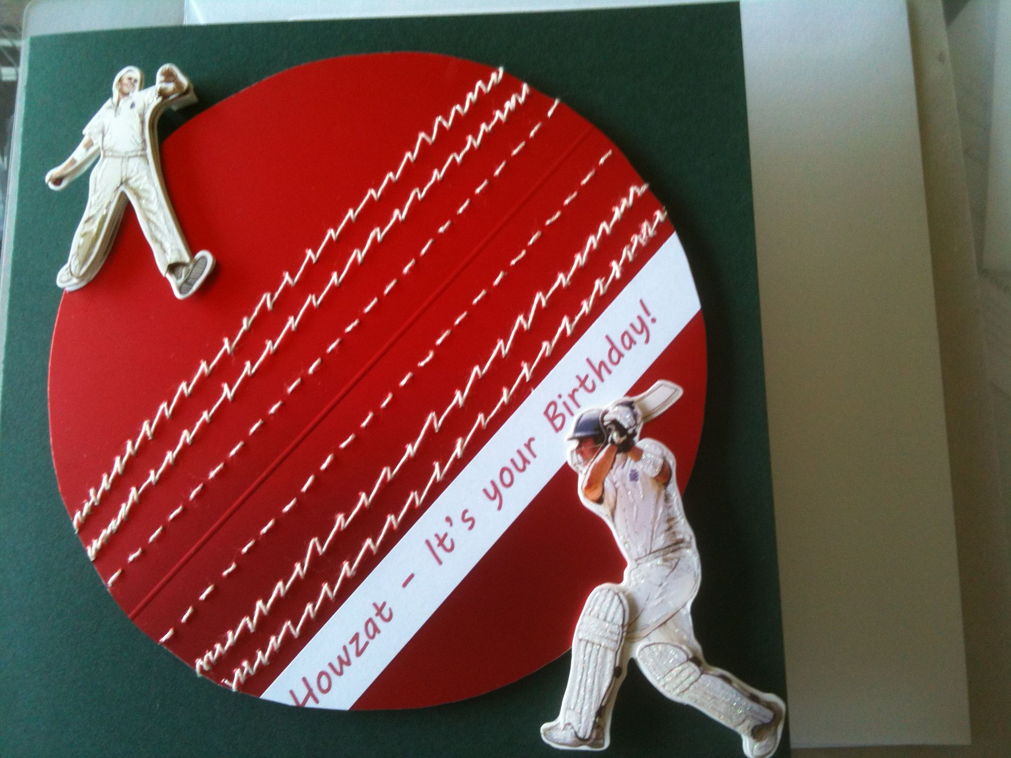 Cricket Ball Hand Stitched And Embossed With Bought Cricketer Toppers Greeting Cards Diy Diy Birthday Gifts Cardmaking