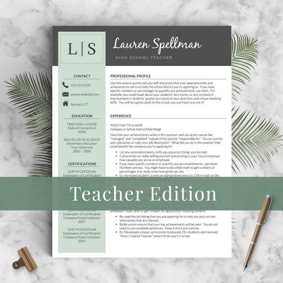 Creative Teacher Resume Template for Word \ Pages Mac \ PC - Teacher Resumes Templates