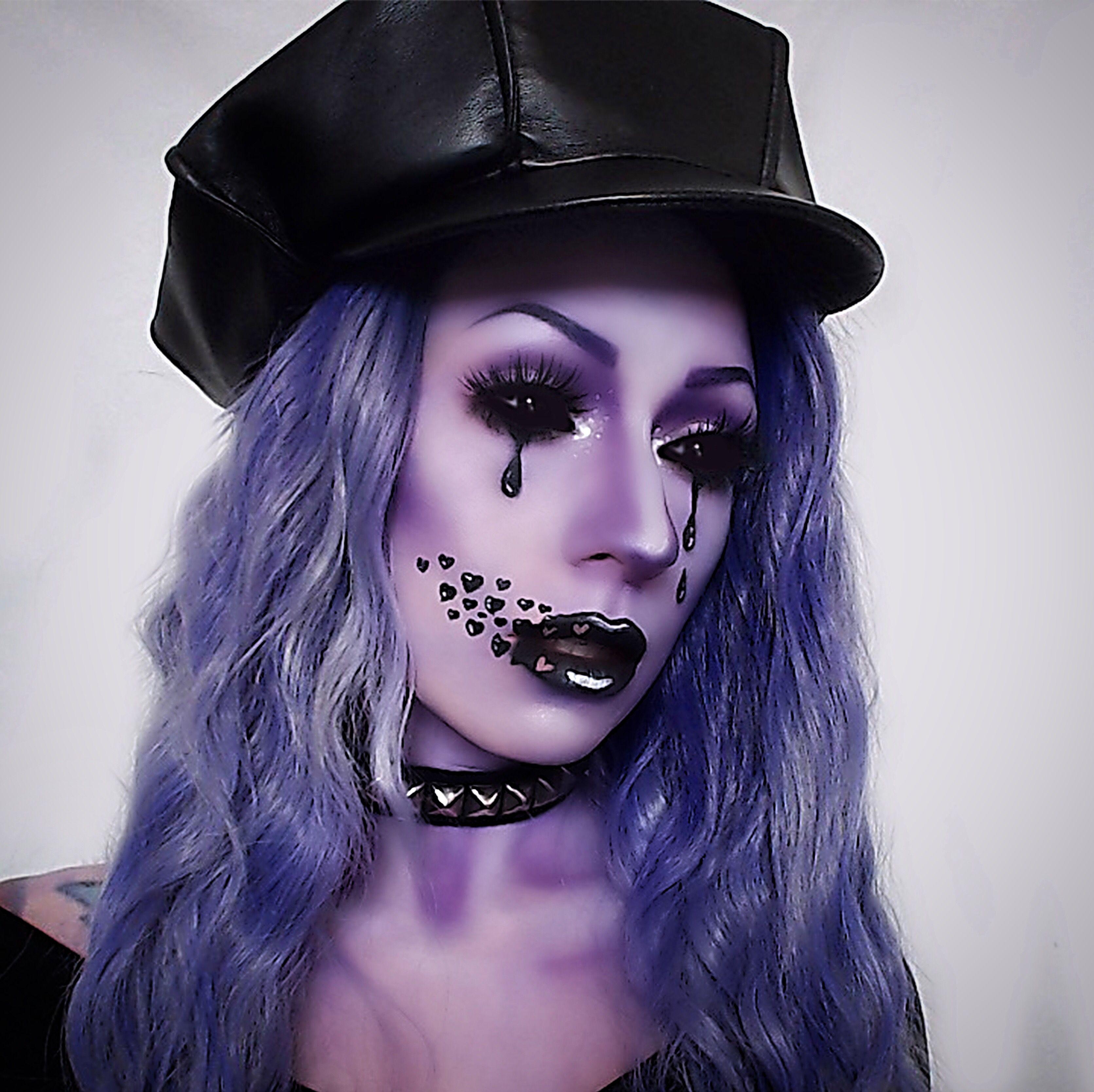 Purple makeup hearts tears crying alien Halloween makeup