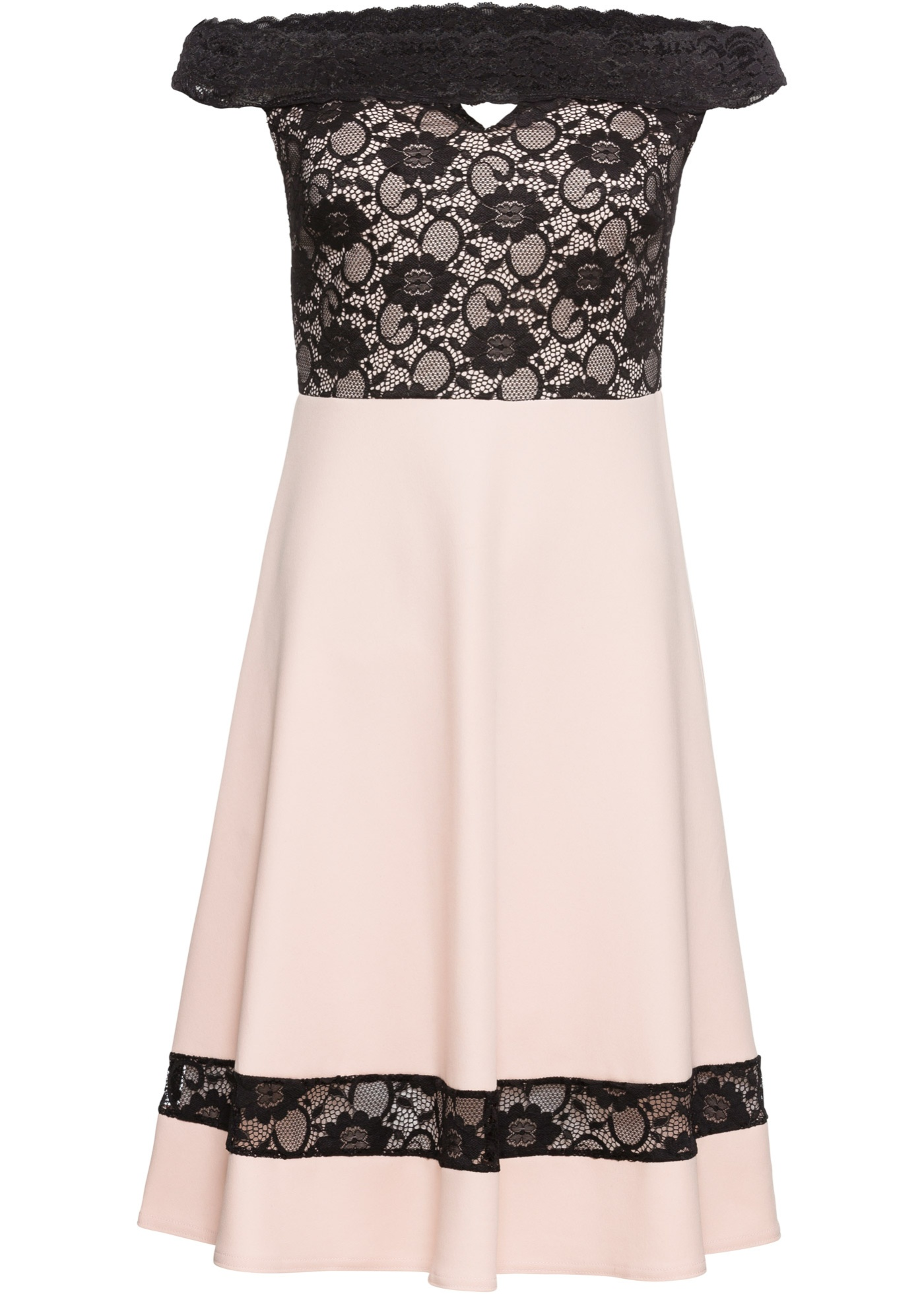 Kleid mit Carmenausschnitt und Spitze  Schöne kleider, Kleid mit
