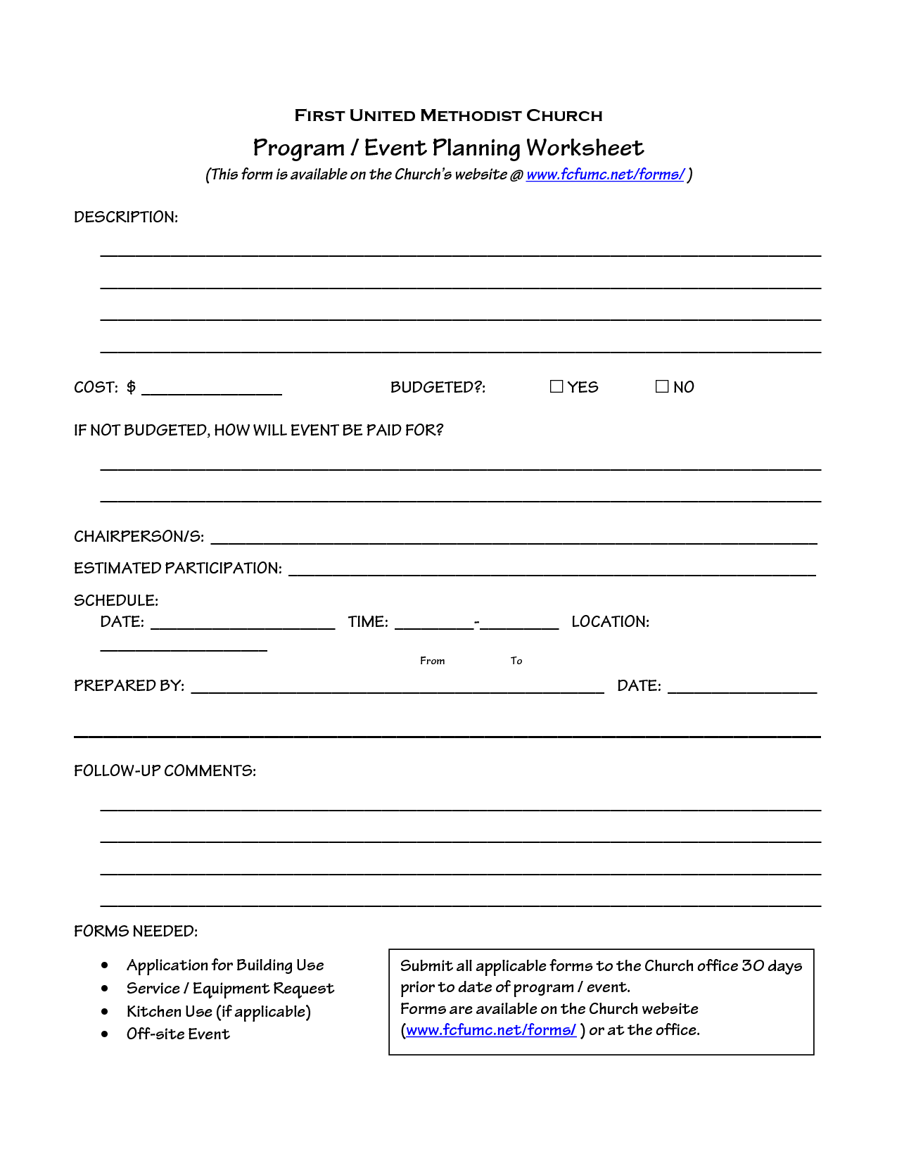 Church Event Planning Worksheet