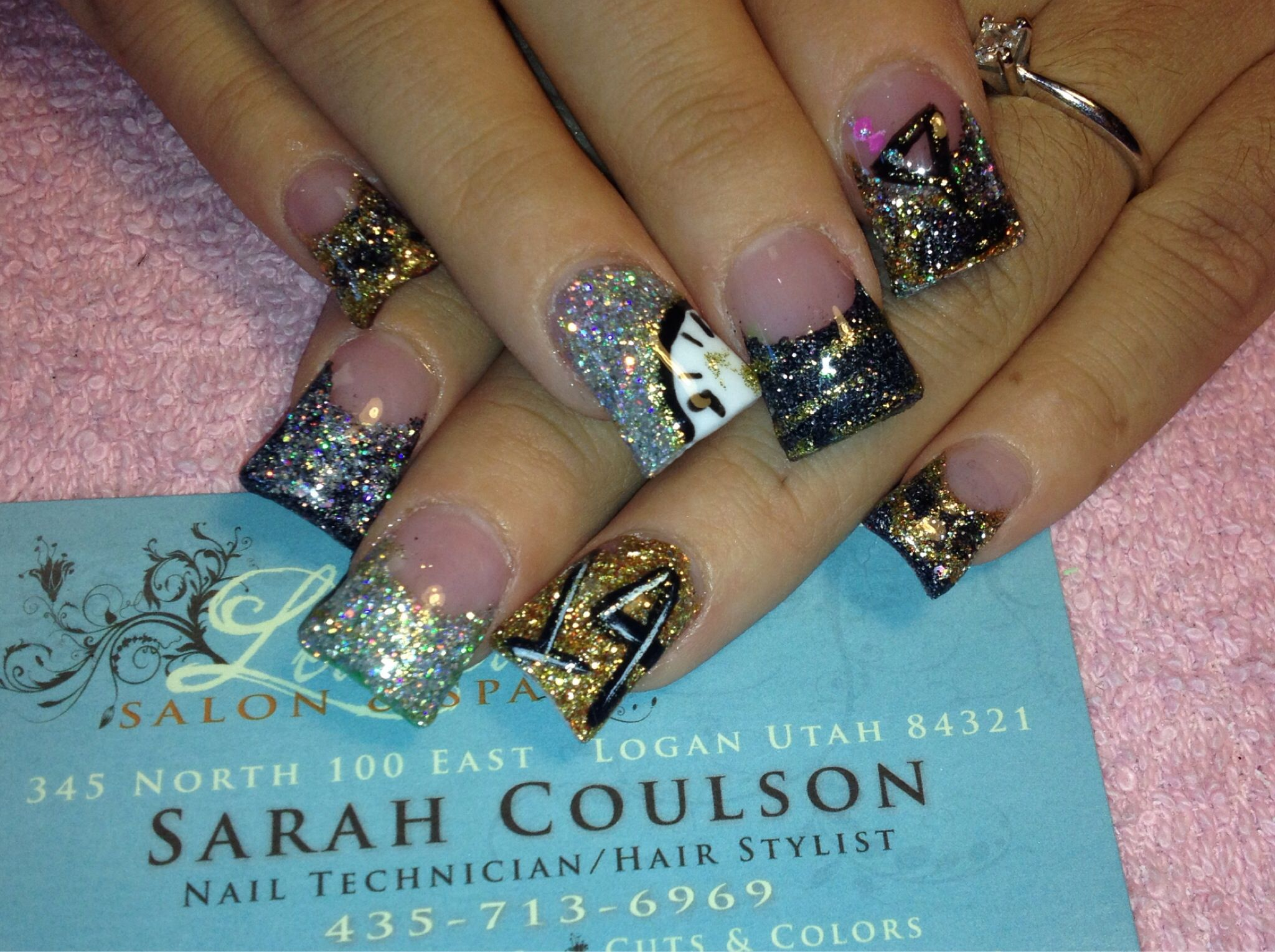 New Year\'s Eve acrylic nails by Sarah coulson | hair & nails | Pinterest