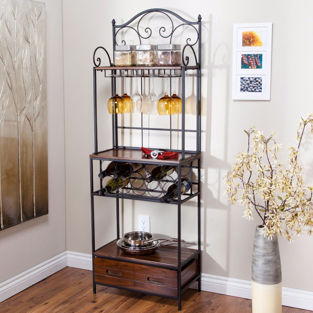 Bakers Rack With Drawers Wine Storage Rustic Wrought Iron French