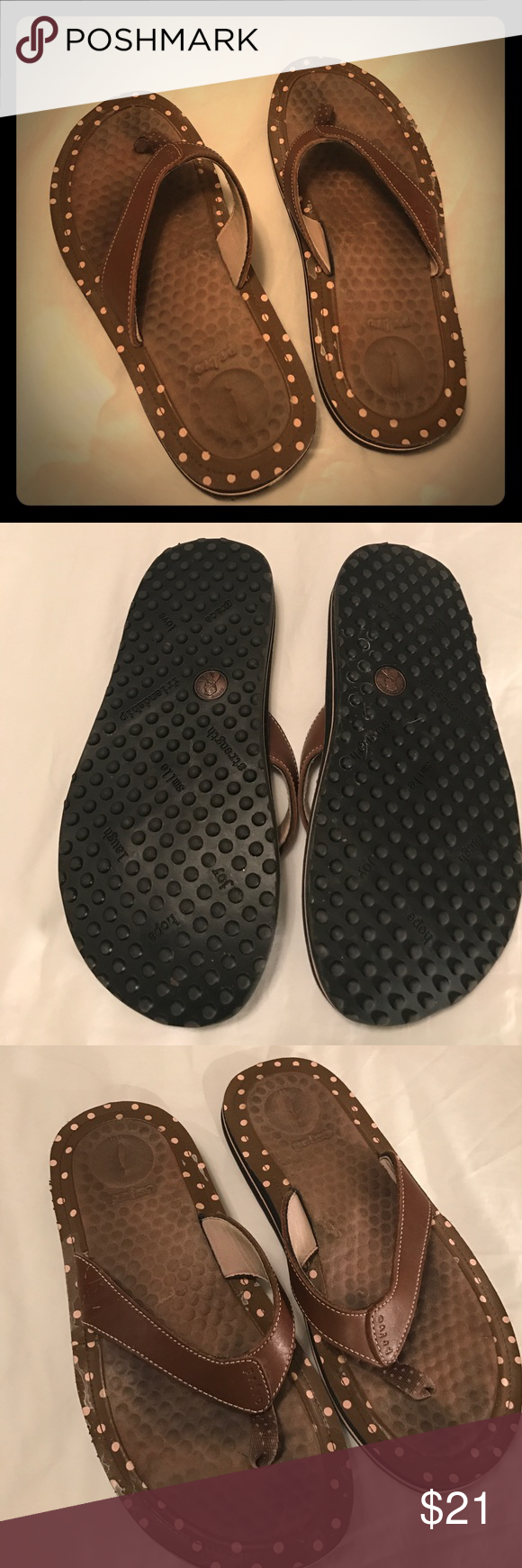 4bebbc3d2 Privo Flip Flops - Leather Uppers Brand Privo. Size 10M. Good condition.  Leather Uppers. Brown with pastel pink polka dots. Non-smoking home. Privo  Shoes ...