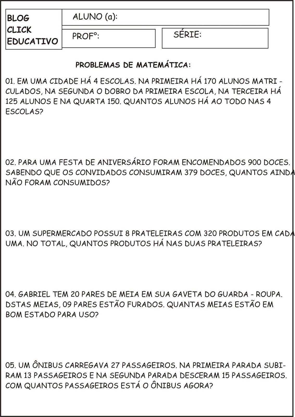 Atividade Problemas De Matematica Clicks Educativos