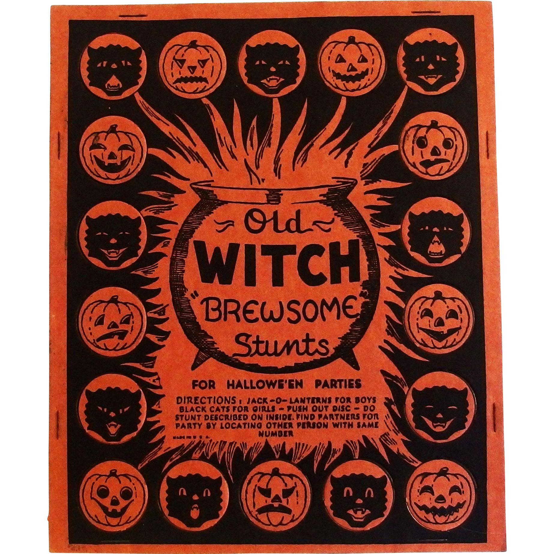 old witch brewsome stunts game for halloween parties halloween decoration beistle company 1948