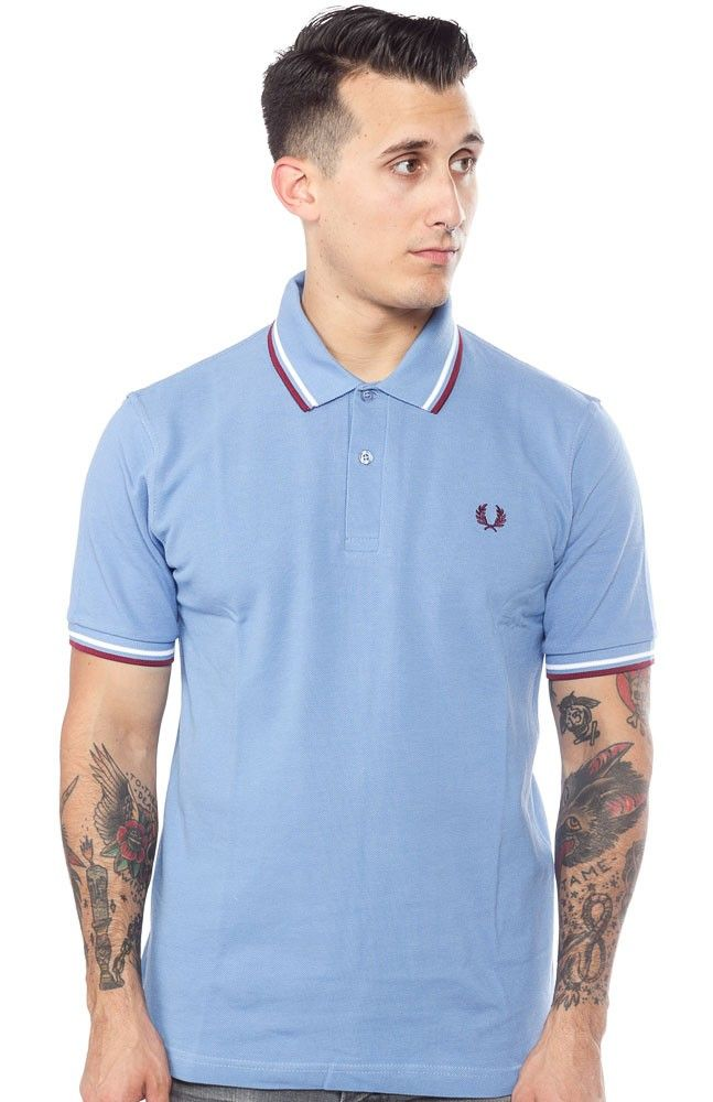 FRED PERRY TWIN TIPPED POLO SHIRT MID BLUE
