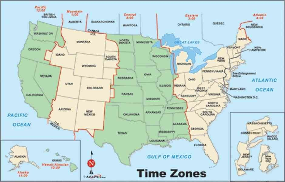 united states of america map with time zones congresbureauflevoland ...