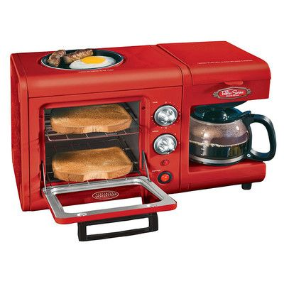 3 In 1 Breakfast Station Coffee Maker Toaster Oven Griddle Combo Bset100cr