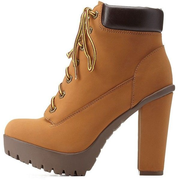 Charlotte Russe Camel Lace-Up Chunky Heel Work Boots by Charlotte... (£30) ❤ liked on Polyvore