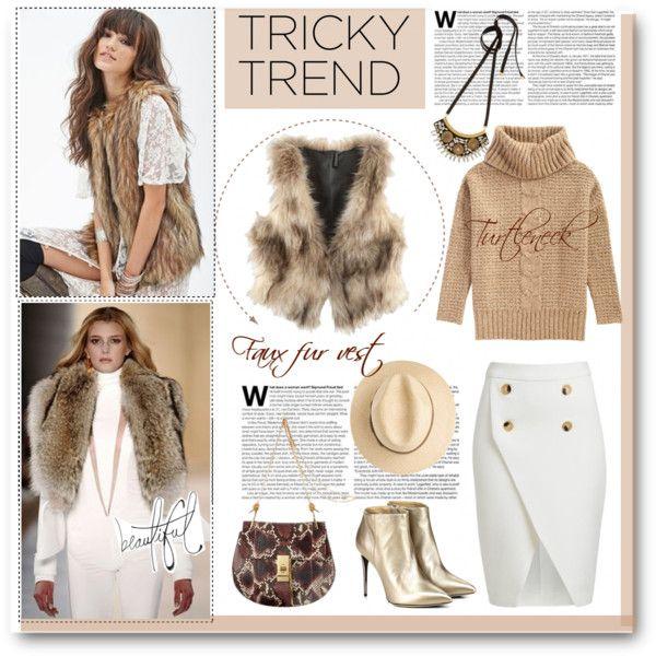 """Faux fur vest & turtleneck sweater"" by anne-irene on Polyvore"