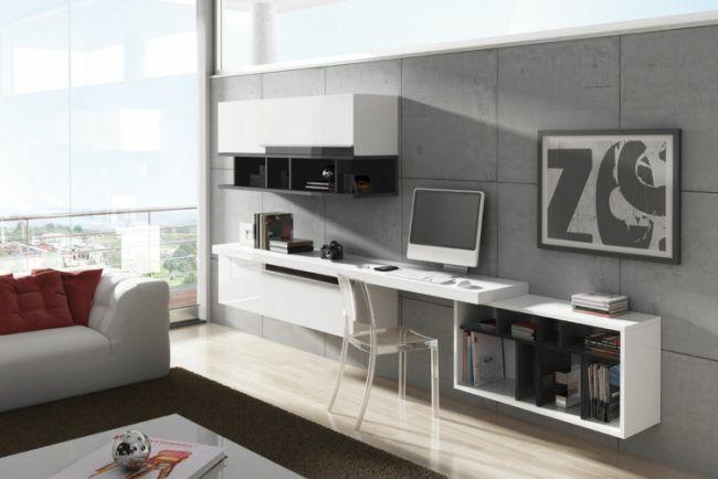 Wohnwand Schreibtisch Wand Betonoptik Wohnzimmer Interieur Modern