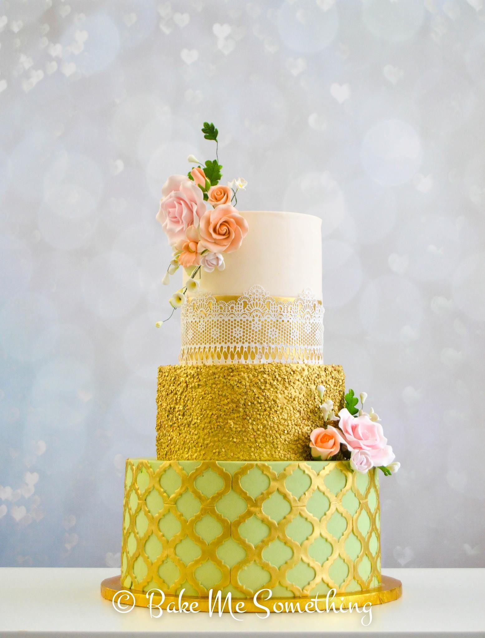 Bright green with gold wedding cake bake me something