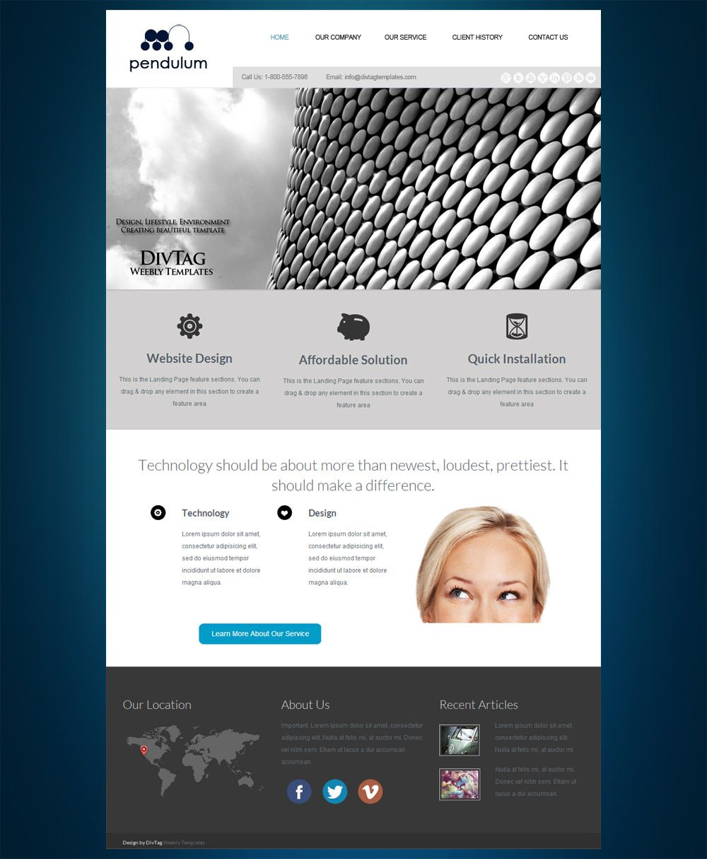 Professional Weebly Theme - Pendulum is designed for businesses that ...
