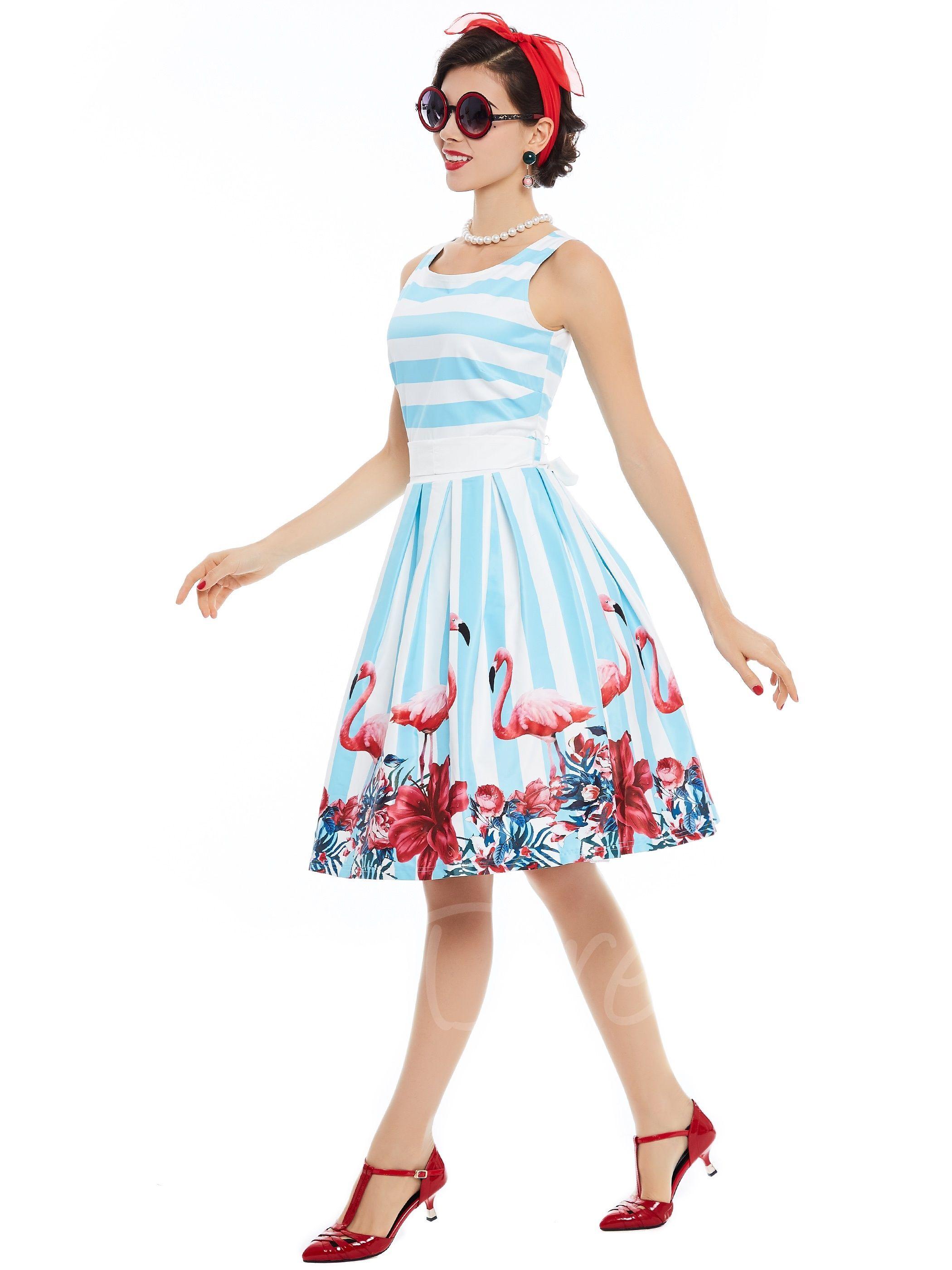 78ddfcbae0 Light Blue Striped Printing Women s Skater Dress en 2019