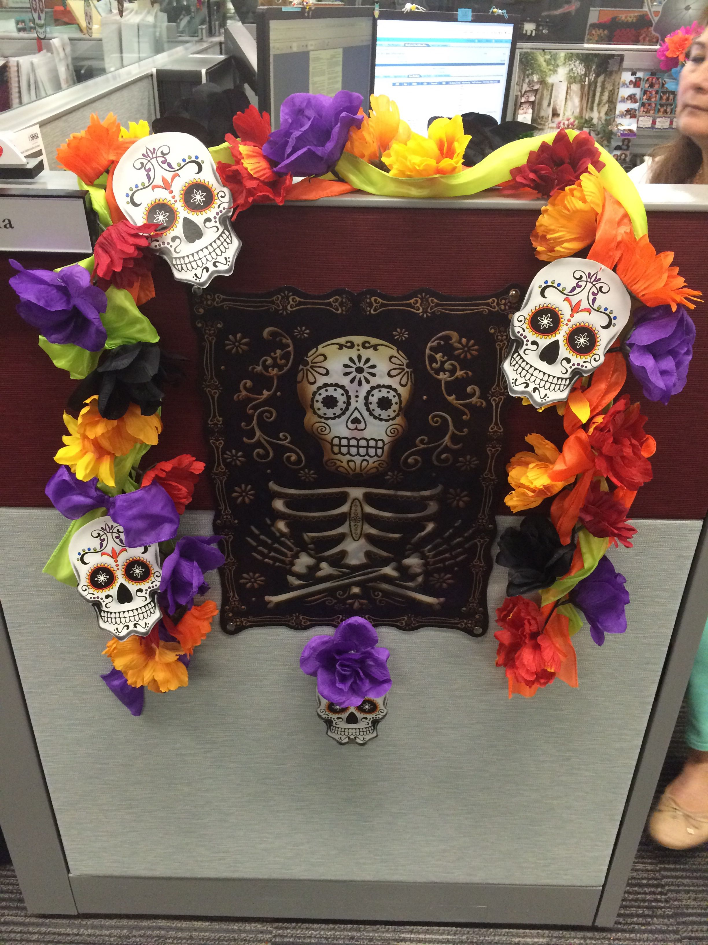 Do it yourself cubicle Halloween day of the dead decor 3D Poster - Cubicle Halloween Decorations