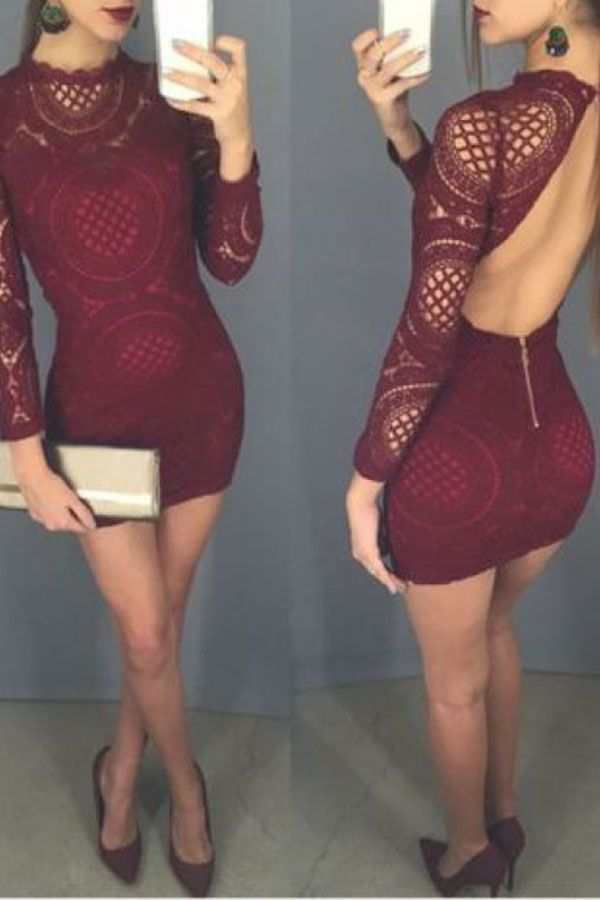 Sexy Burgundy Sheath Lace Homecoming Dresses,Long Sleeves Backless Mini Party Dresses #backlesscocktaildress