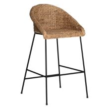 DELFINA Bar Stool, Natural & Black
