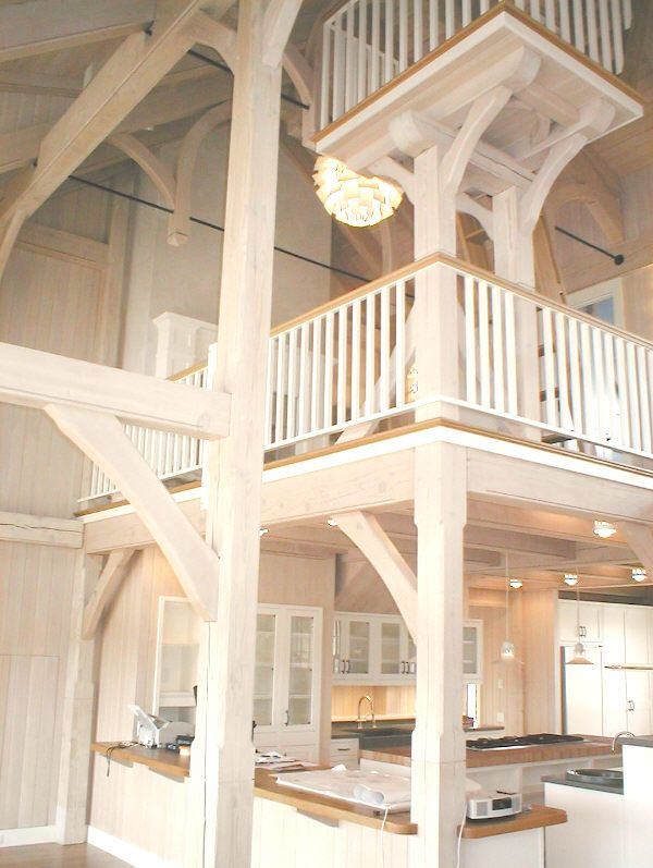 Nantucket timber frame with sweeping arches & steel rods - white ...