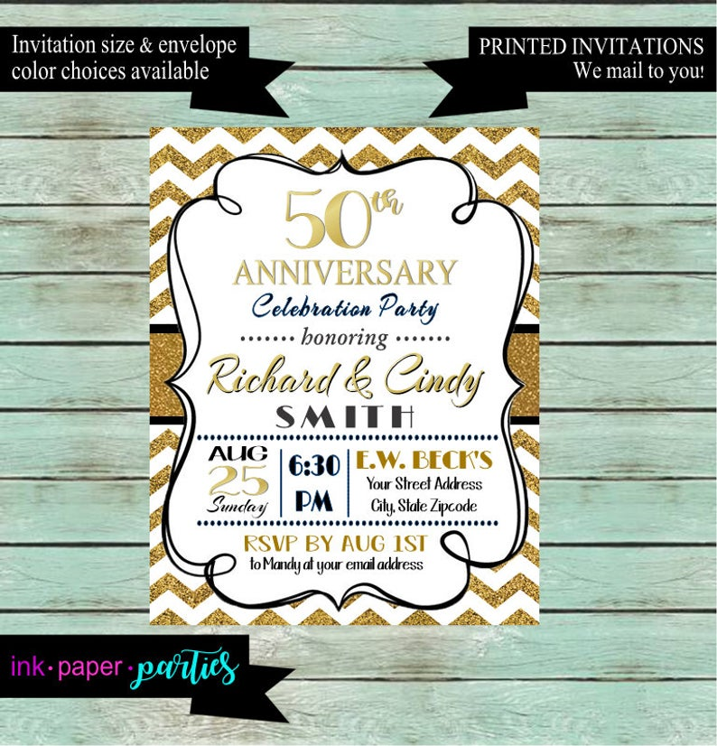 50th Wedding Shower Party Invitations Invites Personalized