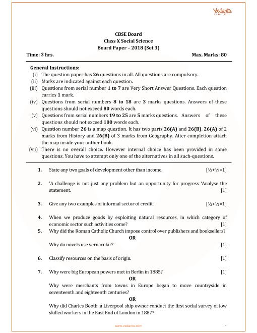 Cbse Class 10 Social Science Question Paper For 2018 Free Pdf Download Question Paper This Or That Questions Previous Year Question Paper