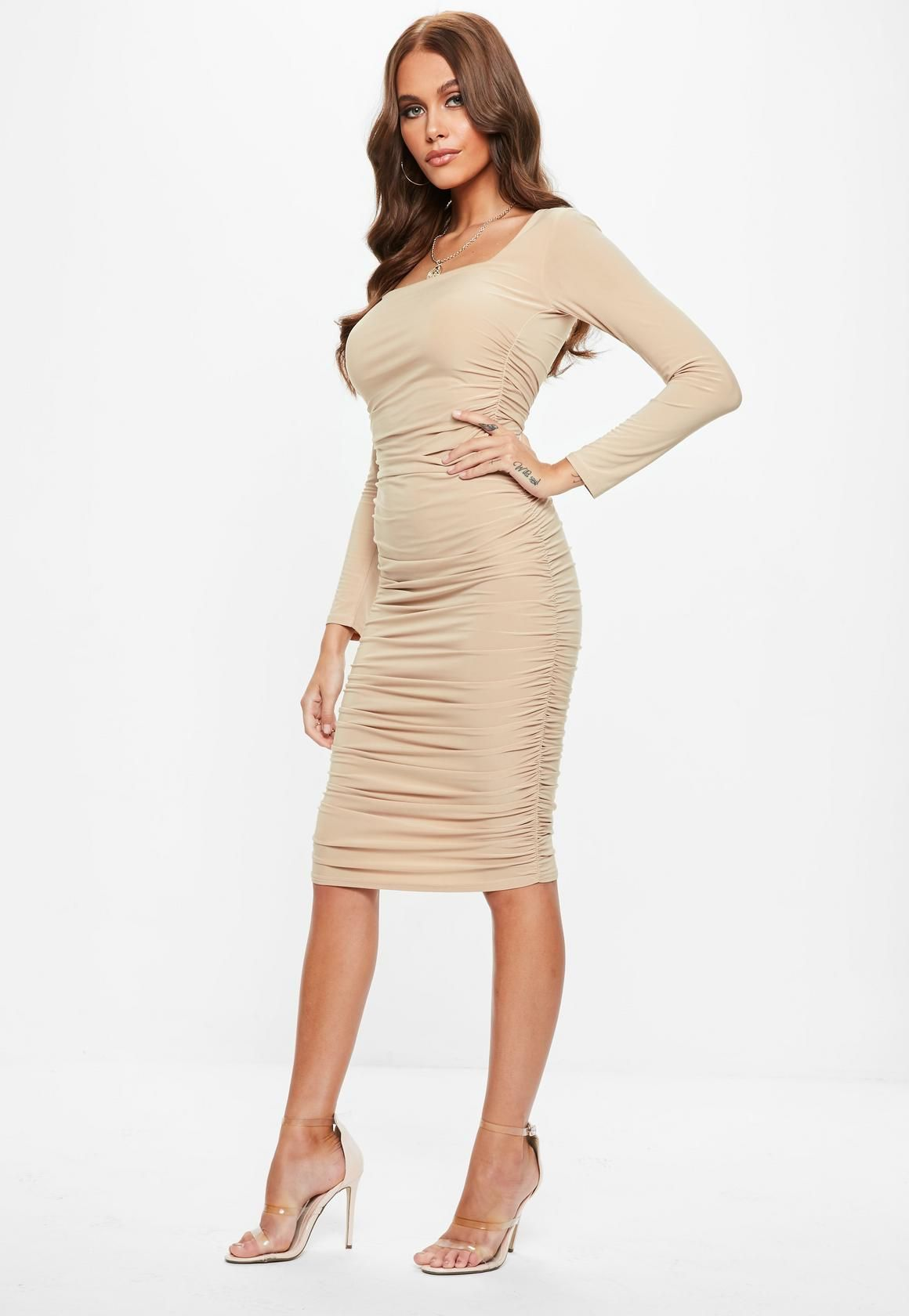122300793f1 Missguided - Sand Soft Touch Slinky Ruched Midi Dress   Cute Outfits ...