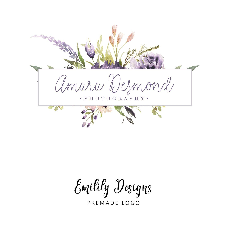 Premade Logo Logo Design Floral Logo Flower Logo Purple Logo