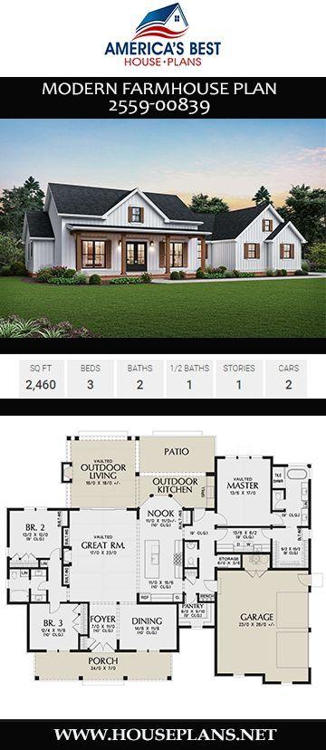 House Plan 2559 00839 Modern Farmhouse Plan 2 460 Square Feet 3 Bedrooms 2 5 Bathrooms Modern Farmhouse Plans Farmhouse Floor Plans Farmhouse Plans