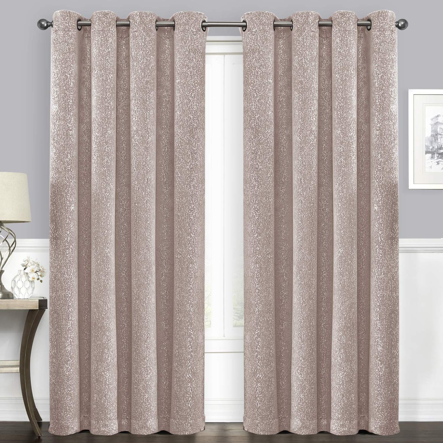 Suo Ai Textile Blackout Curtains Thermal Insulated Drapes Grommet Panels Blackout Silver Window Curtains Starry Dot Insulated Drapes Curtains Darkening Drapes