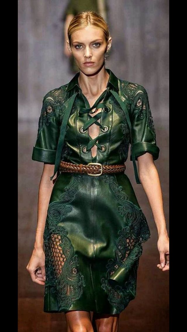 This leather green #gucci dress is my kinda dress