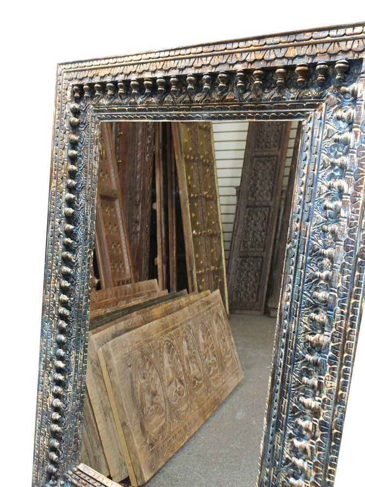 Antique Distressed Mirror Frame Hand Carved Indian Blue Wall Decor