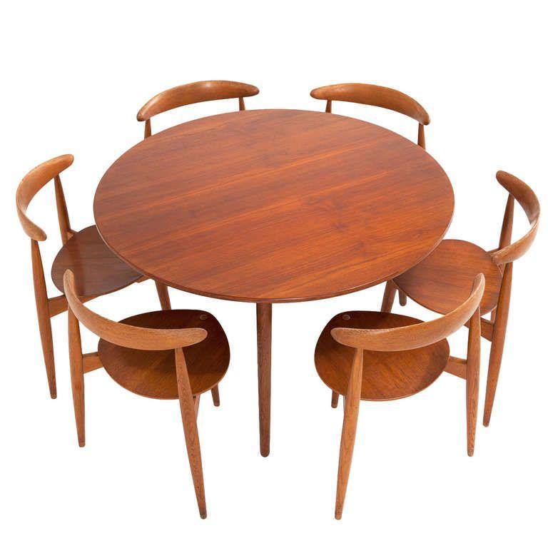 Teak Dining Room Set: Hans Wegner 'heart' Dining Set In Rare Teak And Oak Combi