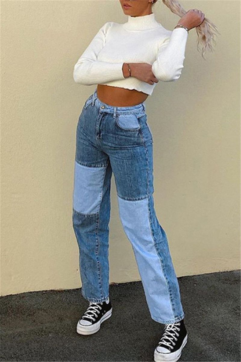 Blue Fashion Casual Patchwork Straight Jeans (blue