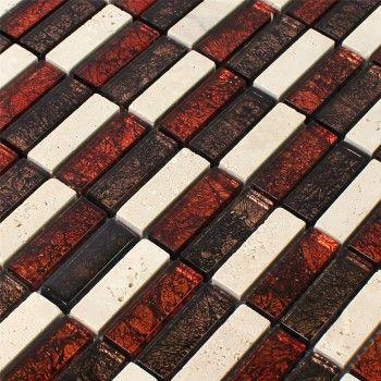 naturstein glas mosaik fliesen rot braun beige stick - Fantastisch Glasmosaik Fliesen Braunbeige Und Beige Fliesen