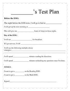 Individual Student Test Plan For End Of Year Assessments  Whole