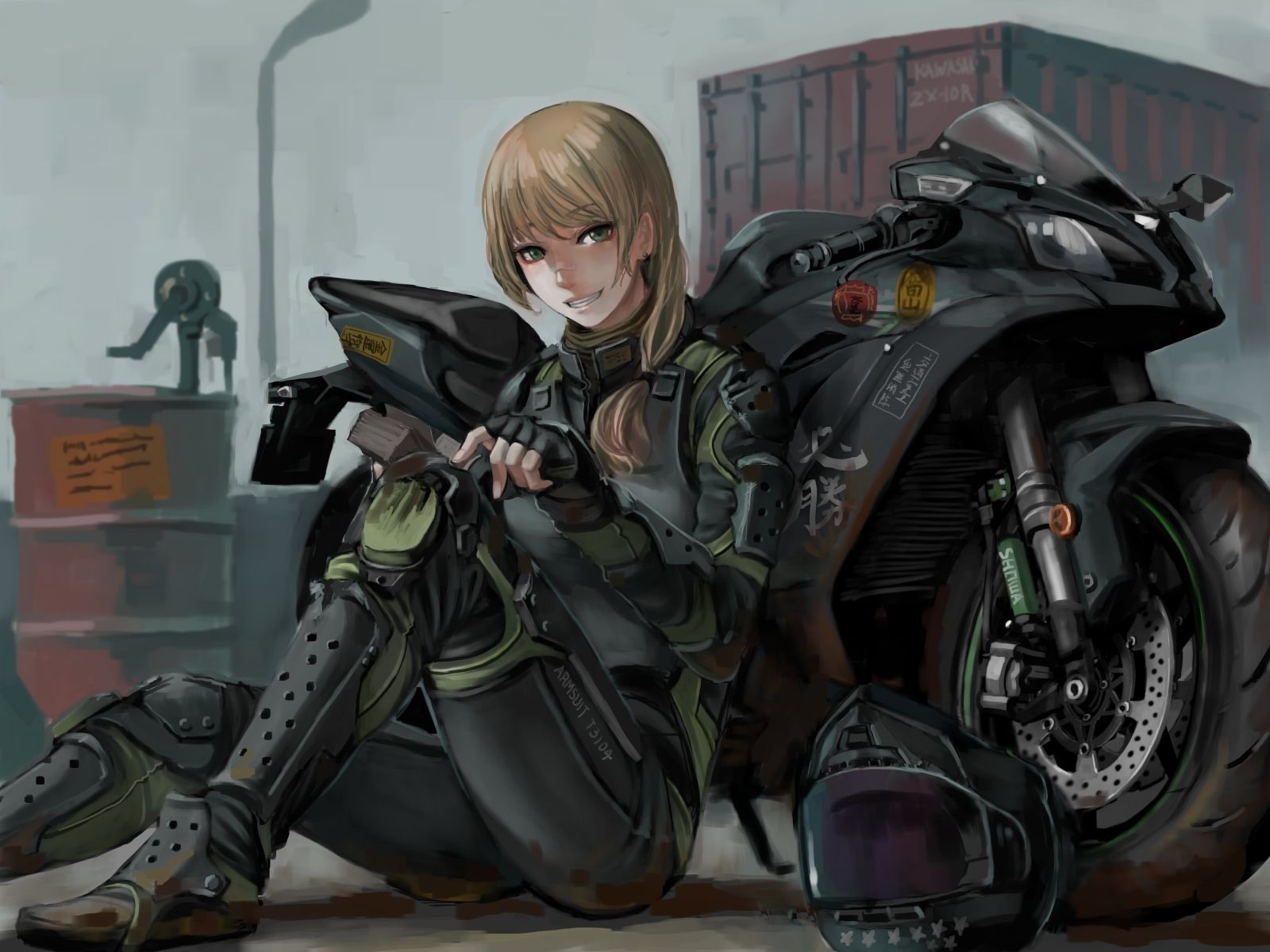 Anime girl smiling bodysuit motorcycle blonde armored